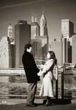 Couple on New York Bridge. Engagement Photo New York City stock photography