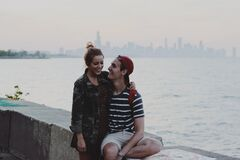 Couple on New York waterfront Stock Photography
