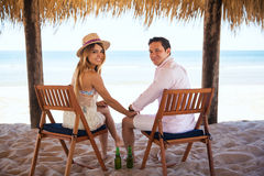 Couple of newlyweds enjoying their honeymoon Stock Photos
