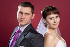 Couple newlyweds in wedding dress and suit Royalty Free Stock Images