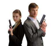 Bodyguards man and woman stock photos