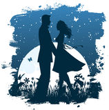 Couple in the night.  vector illustration