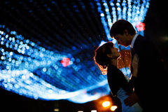 Couple at night. Groom and bride at night Stock Images