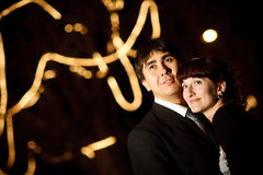Couple at night. Groom and bride at night Royalty Free Stock Image
