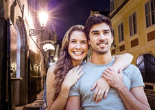 Couple at night in the city. Digital composite of Couple at night in the city Stock Photography