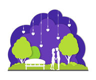 Couple in Night Park City Landscape Background Paper Art. Vector Stock Image