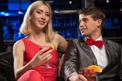 Couple in a nightclub Royalty Free Stock Photo