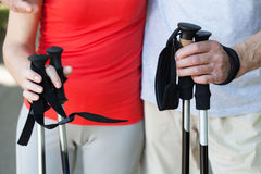Couple during nordic walking Royalty Free Stock Photo