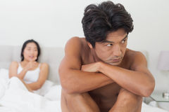 Couple not talking after argument in bed Stock Photography
