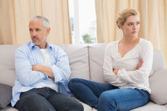 Couple not talking after a dispute on the sofa Stock Photo