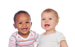Free Couple Of Babies African And Caucasian Laughing Royalty Free Stock Photography - 37172217