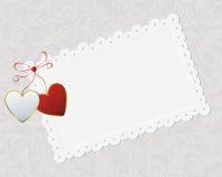 Couple Of Hearts And Congratulation Card Royalty Free Stock Photos