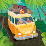 Couple Of Hippies Traveling In Van Along The Coast Stock Photo