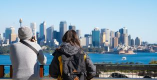 Free Couple Of Tourism Stand On View Point In Sydney Zoo Stock Images - 123560184