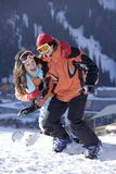 Couple Of Young Snowboarders Royalty Free Stock Images