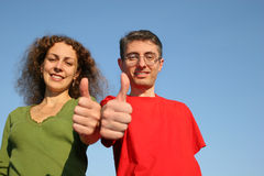 Couple with OK fingers Royalty Free Stock Photography
