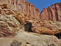 Abandoned Mines. A couple of old, abandoned mines are boarded up for the safety of tourists in Capitol Reef National Park Royalty Free Stock Images