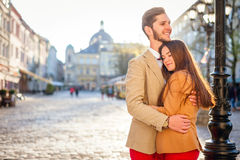 Couple in old city Royalty Free Stock Photo