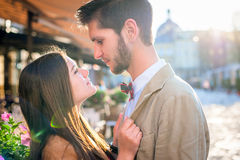 Couple in old city Stock Photography