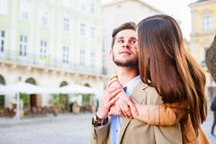 Couple in old city Royalty Free Stock Images