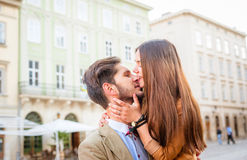 Couple in old city Stock Images