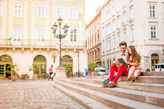 Couple in old city Royalty Free Stock Photos