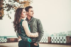 Couple in old town Royalty Free Stock Photos