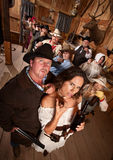 Couple in Old West Saloon Royalty Free Stock Photos