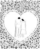 Couple older in heart shape; line art black and white illustration; romantic forever love concept Stock Image