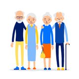 Couple older people. Two aged people stand. Elderly man and woman stand together and hug each other. Illustration isolated on. White background in flat style stock illustration