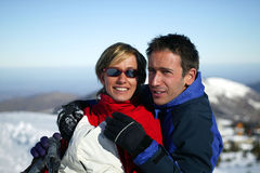 Couple On A Skiing Holiday Royalty Free Stock Photography