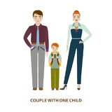 Couple with one child. Cartoon illustration Royalty Free Stock Photography