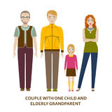 Couple with one child and elderly grandparent Stock Photos