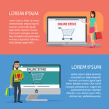 Couple Operating Their Business from Home. Cartoon poster vector Stock Images