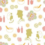 Couple, oranges,Flowers, sea shells-Spa in the Country.Seamless Repeat Pattern stock illustration