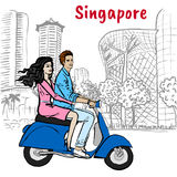 Couple on Orchard Road in Singapore. Hand-drawn sketch couple driving scooter on Orchard Road in Singapore Stock Photo
