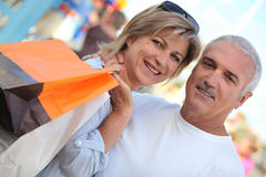 Couple out shopping Royalty Free Stock Photo