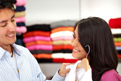 Couple out shopping Royalty Free Stock Images