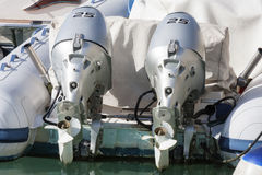 Couple of outboard engines Stock Photography