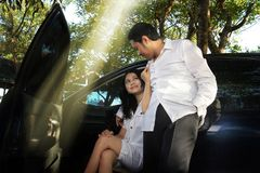 Couple outdoor. Portrait of couple outdoor with light ray Royalty Free Stock Photography