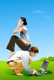 Couple Outdoor. Man and woman working outdoor Stock Photo