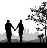 Couple at outdoor stock illustration