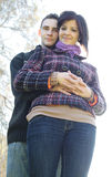 Couple outdoor in autumn Stock Photos