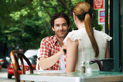 Couple At Outdoor Cafe Stock Photo