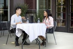 Couple on an Outdoor Lunch Date royalty free stock photography