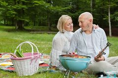 Couple On An Outdoor Picnic Royalty Free Stock Image