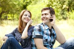 Couple at outdoor in summer time. Stock Photography