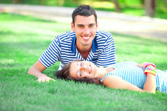 Couple at outdoor Royalty Free Stock Images