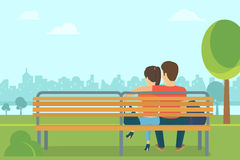 Couple outdoors in the park sitting on bench and looking forward. Couple outdoors in the park sitting on the bench and looking at the city. Flat romantic vector illustration