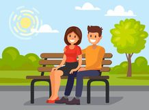 Couple outdoors in the park sitting. Flat romantic vector girl and boy Stock Images